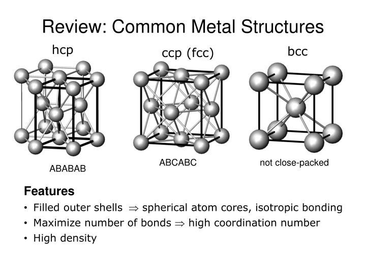 review common metal structures n.