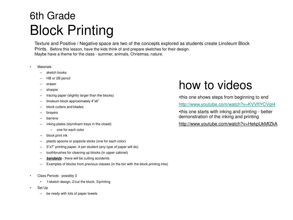 ppt 6th grade block printing powerpoint presentation id 5634488
