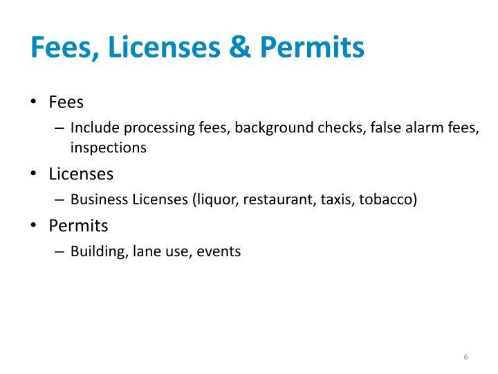 Fees, Licenses & Permits