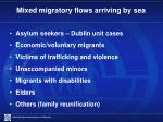 mixed migratory flows arriving by sea