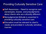 providing culturally sensitive care