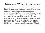 marx and weber in common