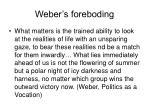 weber s foreboding