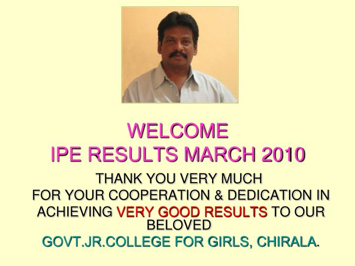 welcome ipe results march 2010 n.