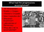 what had the progressives accomplished