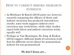 how to correct errors research evidence