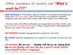 other members of society ask what is work for