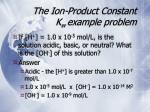 the ion product constant k w example problem