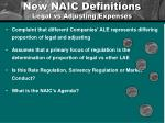 new naic definitions legal vs adjusting expenses