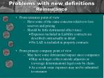 problems with new definitions reinsurance