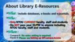 about library e resources