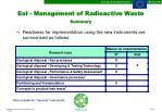 eoi management of radioactive waste summary