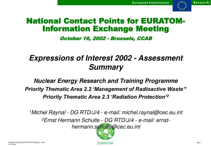 national contact points for euratom information exchange meeting october 16 2002 brussels ccab n.