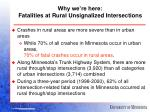 why we re here fatalities at rural unsignalized intersections