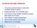 criminal intruder behavior