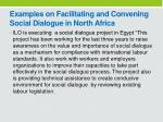 examples on facilitating and convening social dialogue in north africa