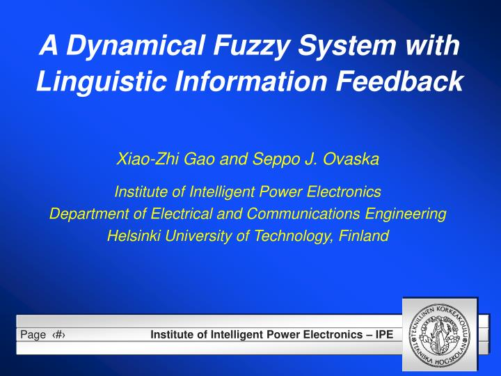 a dynamical fuzzy system with linguistic information feedback n.