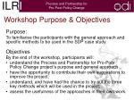 workshop purpose objectives