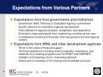 expectations from various partners