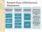 research focus of ids economic development
