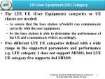 lte user equipment ue category