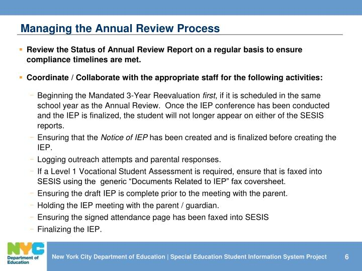 Managing the Annual Review Process
