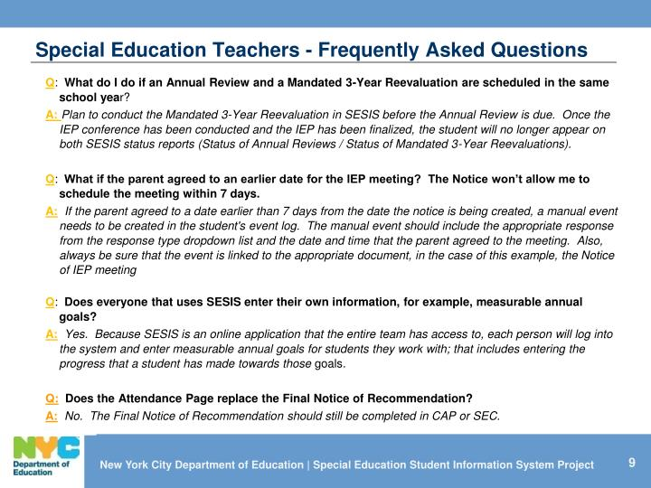 Special Education Teachers - Frequently Asked Questions