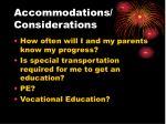 accommodations considerations