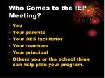 who comes to the iep meeting
