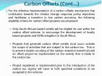 carbon offsets cont