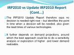 irp2010 vs update irp2010 report cont