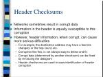 header checksums