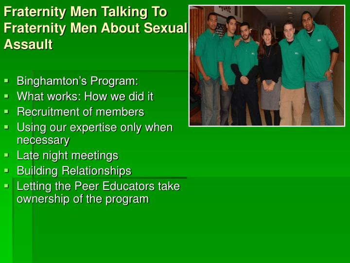 Fraternity men talking to fraternity men about sexual assault