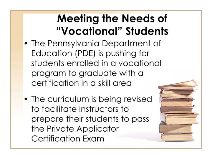 """Meeting the Needs of """"Vocational"""" Students"""