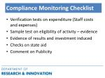 compliance monitoring checklist