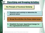 classifying and grouping activities
