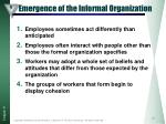 emergence of the informal organization