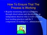 how to ensure that the process is working