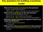 key questions for building a business model