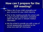 how can i prepare for the iep meeting