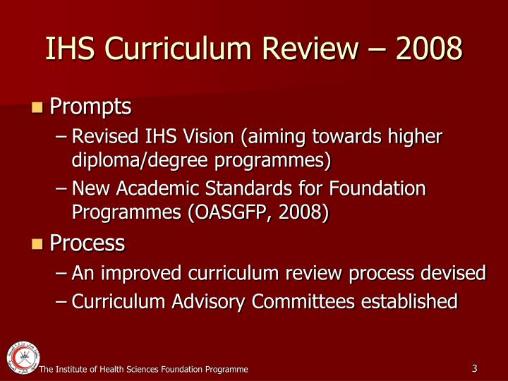 IHS Curriculum Review – 2008