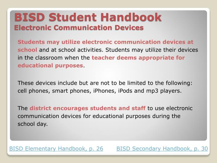bisd student handbook electronic communication devices n.