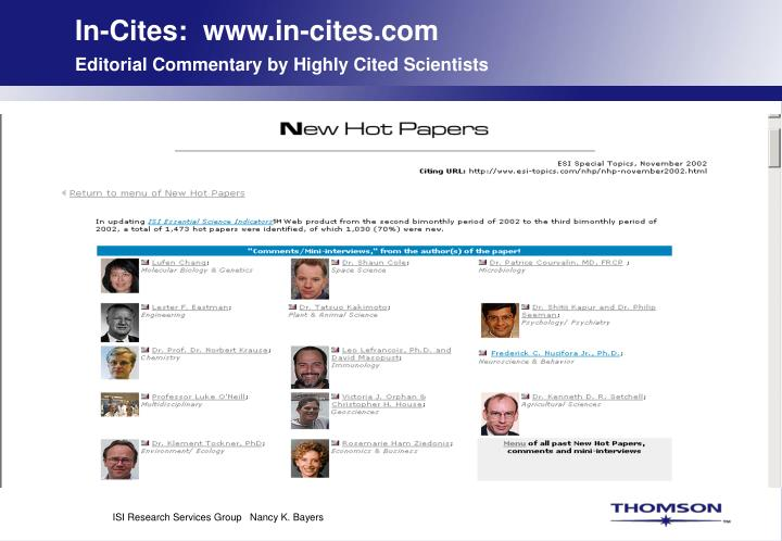 In-Cites:  www.in-cites.com