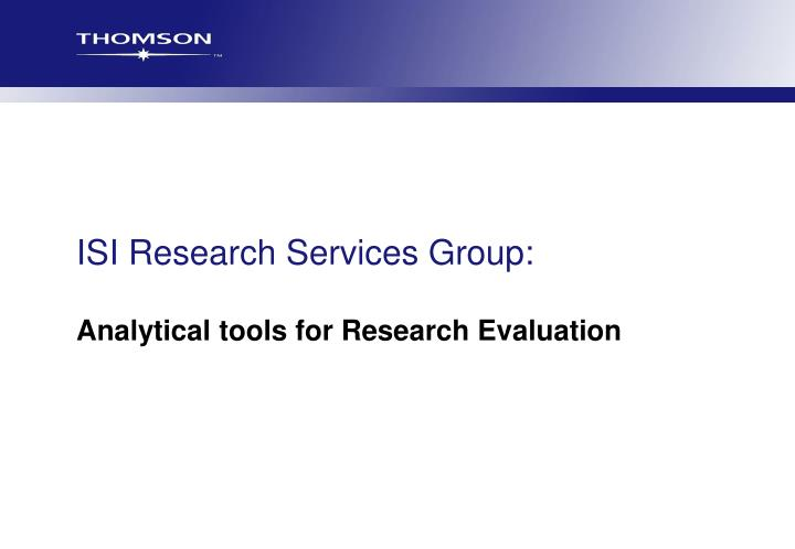 isi research services group n.