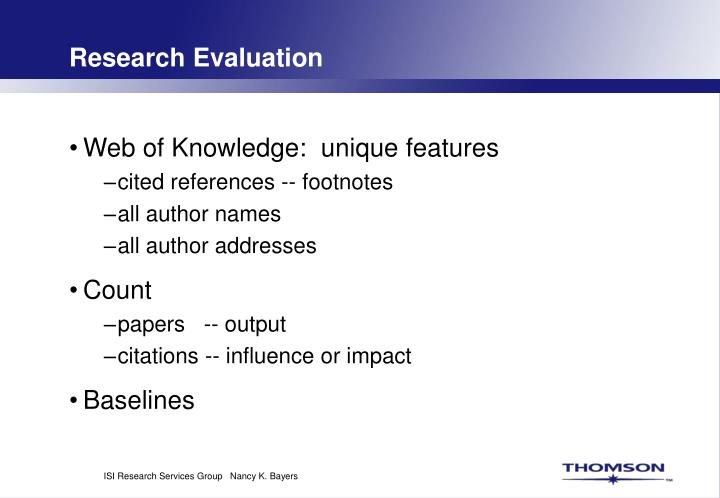 Research Evaluation