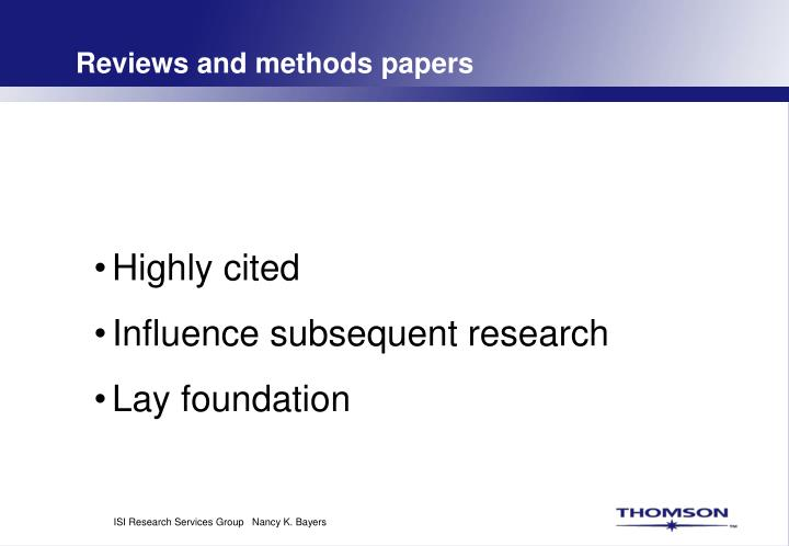 Reviews and methods papers