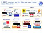 ihs esp customers span the globe and cover a broad range of industries