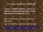 a cross synthesis defined