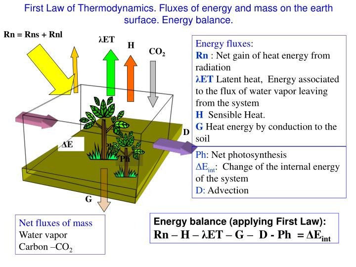 First Law of Thermodynamics. Fluxes of energy and mass on the earth surface. Energy balance.
