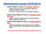 administrative issues 04 03 2014